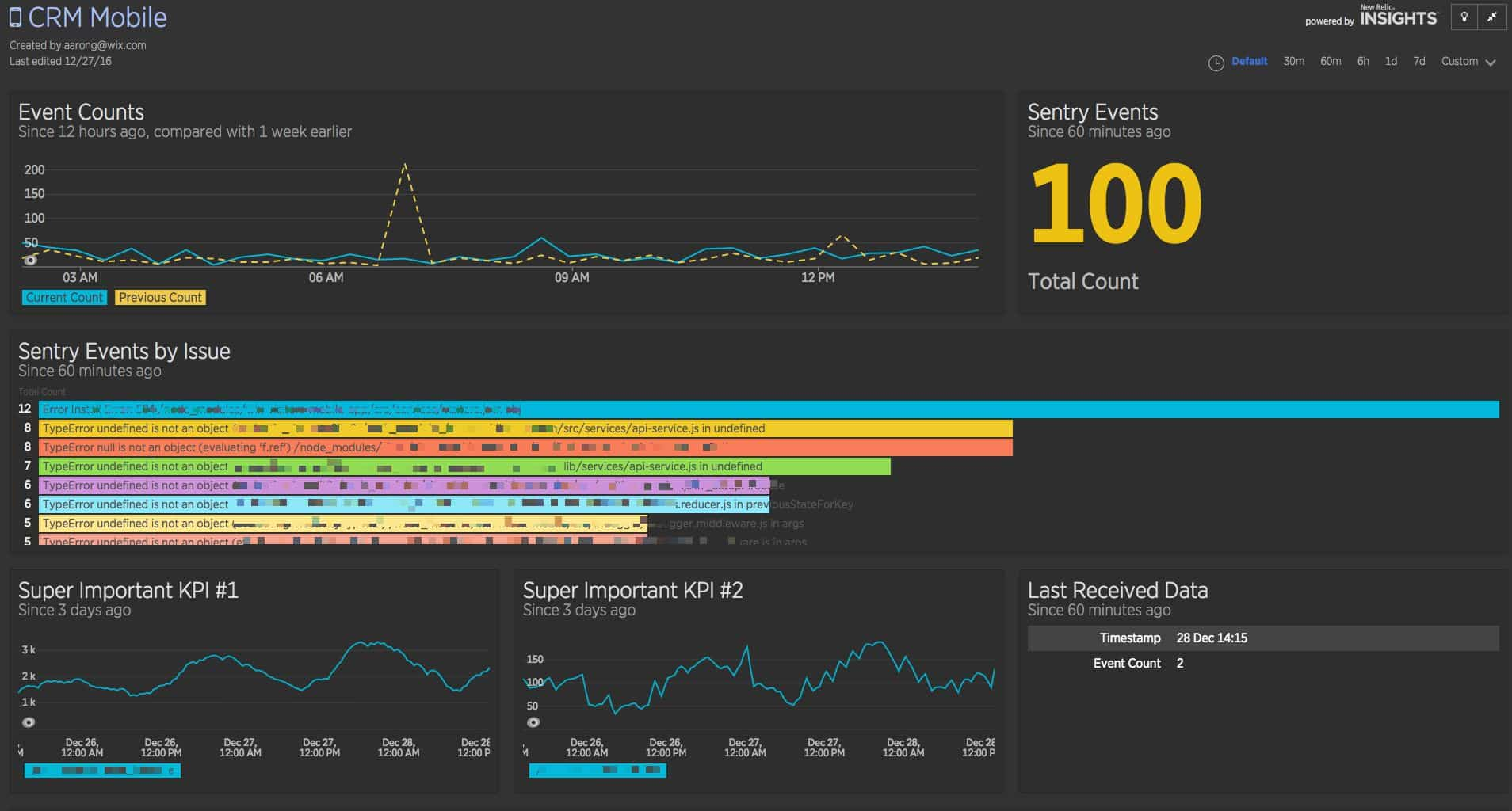My New Relic Dashboard